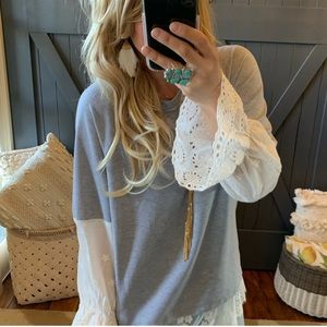 "New ""The Coziest"" Bohemian Lace Long Sleeve Top SM"